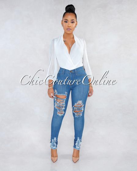 Hayes Medium Denim High Waist Destroyed Jeans
