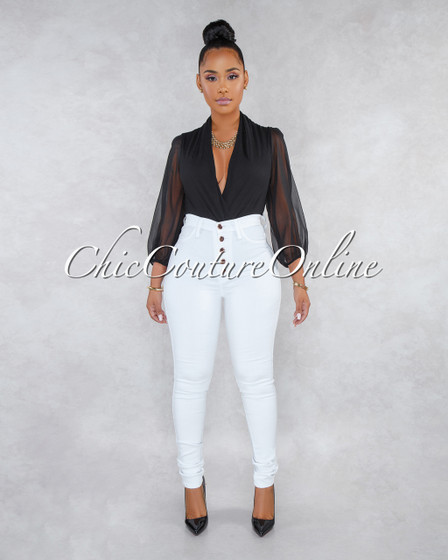 Kiana White Button Up High Waist Skinny Jeans