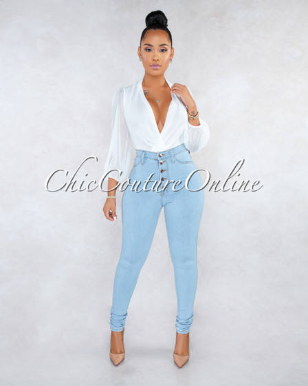 Kiana Light Denim Button Up High Waist Skinny Jeans