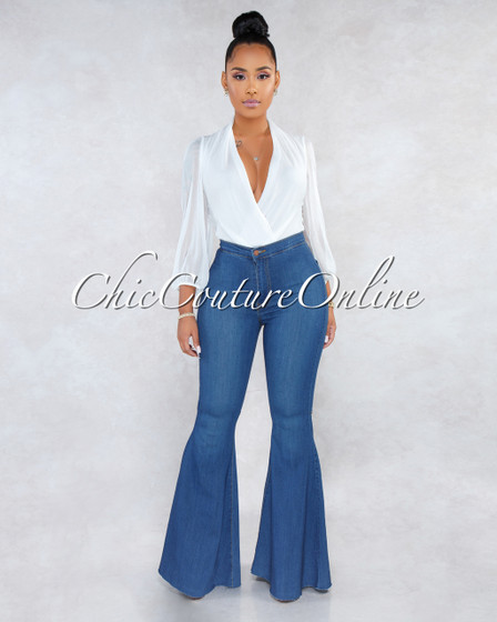 Dalah Blue Denim High Waist Bell Leg Pants