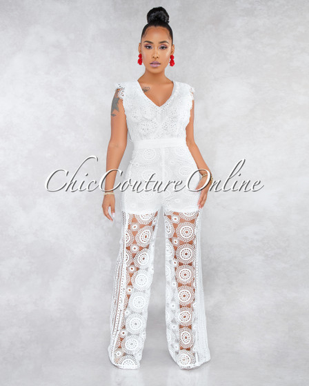 Betsa White Crochet Scalloped Ruffle Detail Jumpsuit