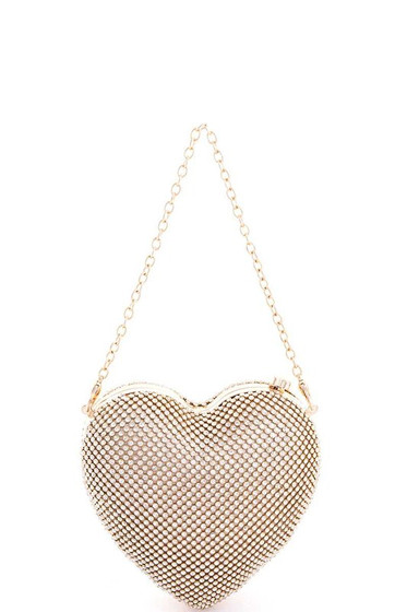 Valentine Gold Heart Shaped Pavé Rhinestones Clutch Bag