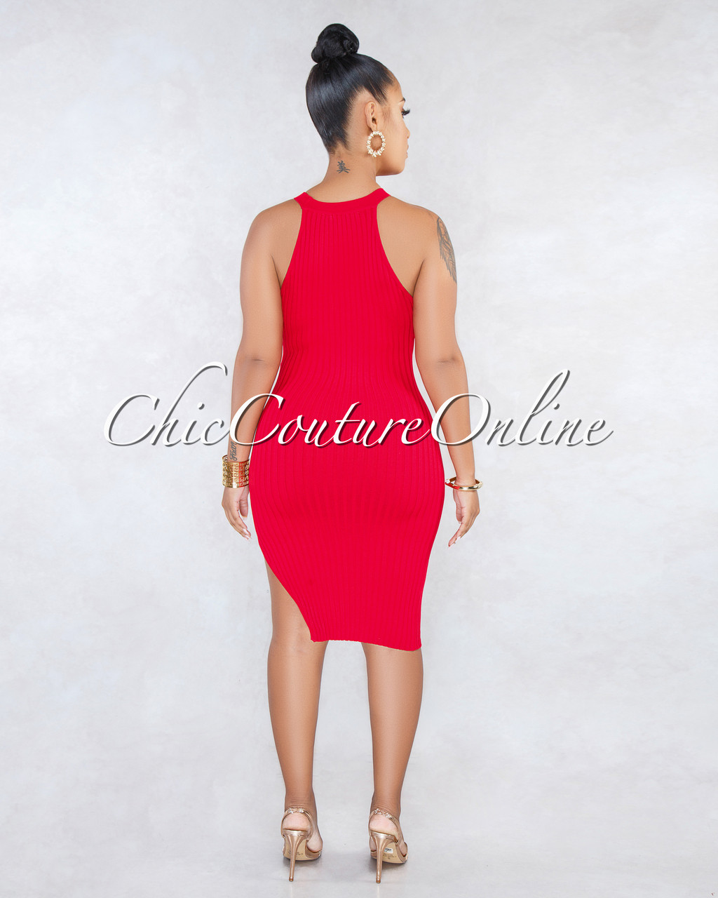 f479f898648 Talia Red Racer Leg Slit Ribbed Dress. Price   40.00. Image 1. Larger    More Photos