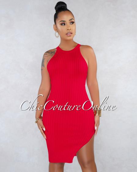 Talia Red Racer Leg Slit Ribbed Dress