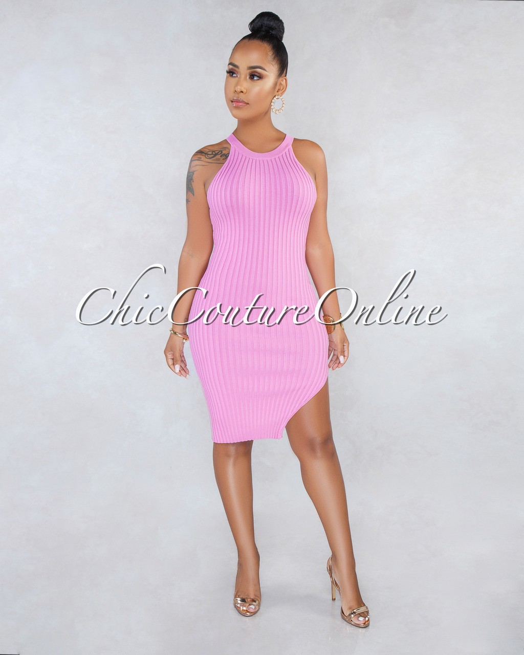 6099d4371fb Talia Dusty Pink Racer Leg Slit Ribbed Dress. Price   40.00. Image 1.  Larger   More Photos