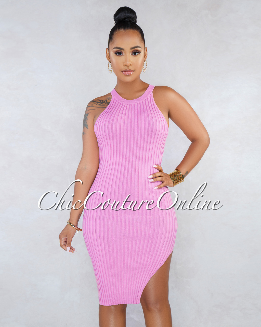 0b671fcd7f7 Talia Dusty Pink Racer Leg Slit Ribbed Dress. Price   40.00. Image 1