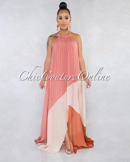 Jaxton Dark Blush Pleated Asymmetrical Maxi Dress