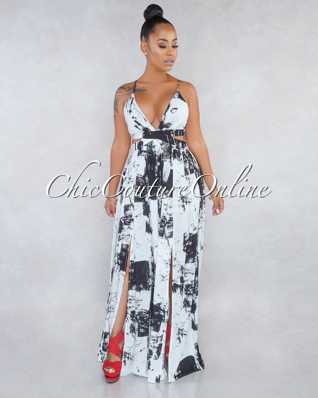 3d26263fe8e Annie Off-White Black Print Cut-Out Sides Maxi Dress