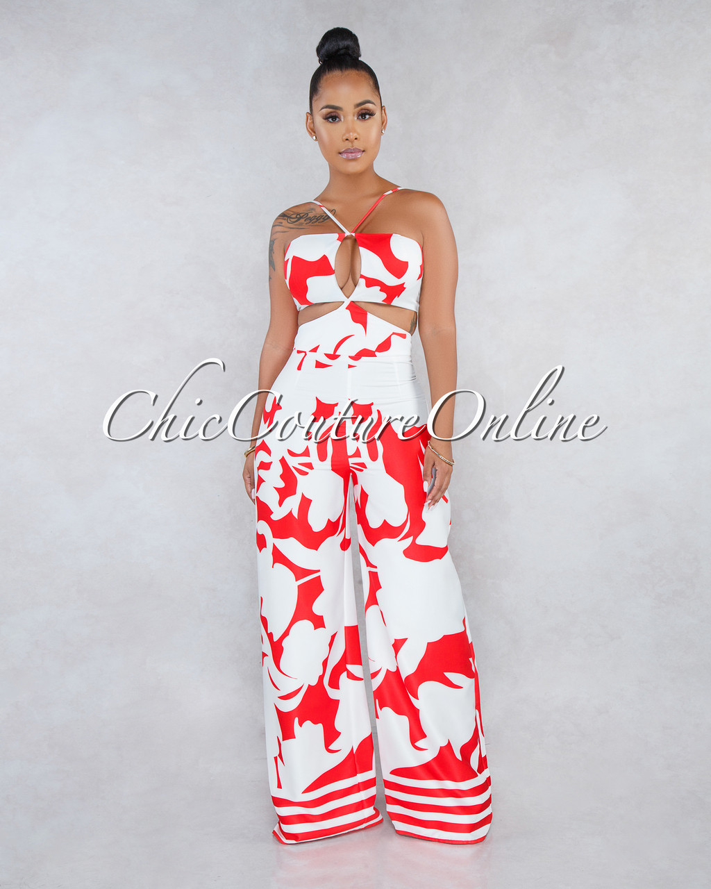 3359763741e3 Lanai Off-White Red Abstract Print Cut-Out Jumpsuit