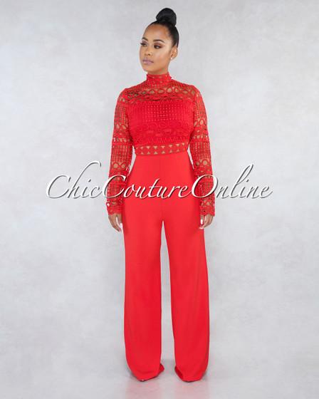 Tahanna Red Long Sleeves Crochet Top Jumpsuit