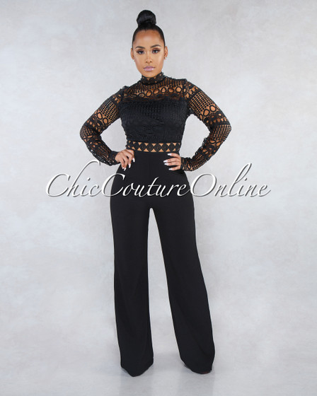Tahanna Black Long Sleeves Crochet Top Jumpsuit