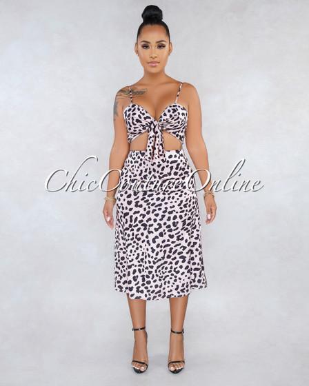 Charlene Leopard Print Silky Two Piece Set