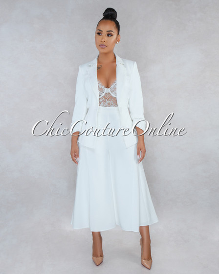 Talina Off-White Double Breast Jacket Culotte Two Piece Suit Set