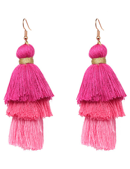 Danny Pink Tassel Dangle Earrings