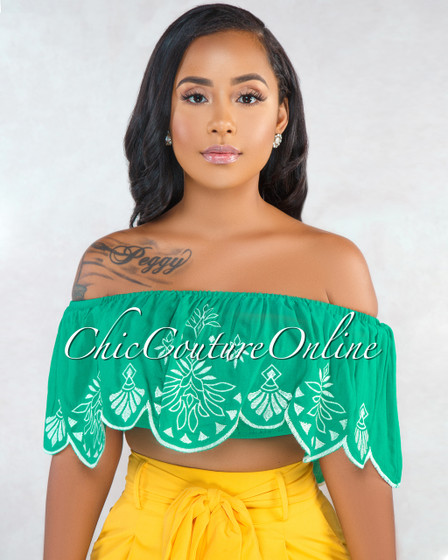 Halina Green Off-The-Shoulder Embroidery Scalloped Crop Top
