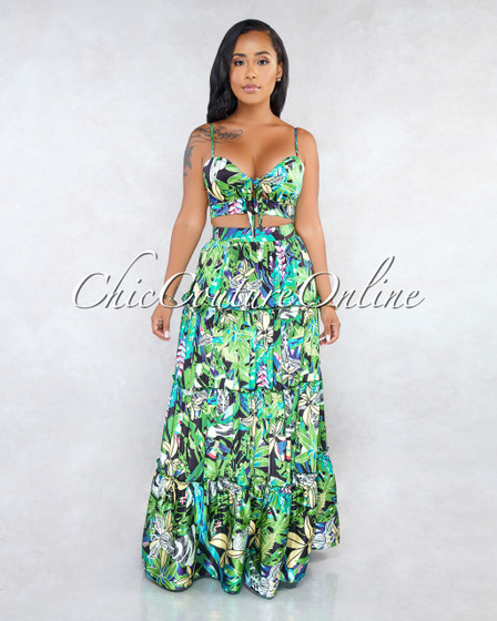 Benji Green Floral Print Two Piece Skirt Set