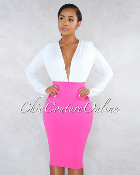 Vita Fuchsia Body-Con Midi Skirt