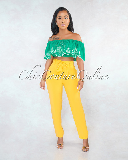 Dash Mustard Yellow Self-Tie Belt Pleated Pants