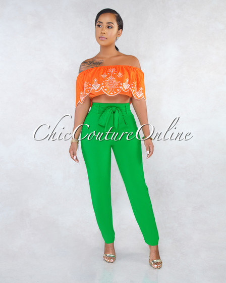 Dash Emerald Green Self-Tie Belt Pleated Pants