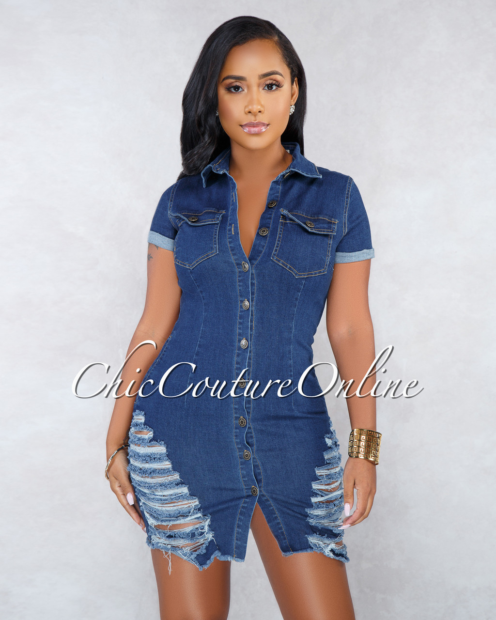 03cc838335 Thania Blue Denim Destroyed Buttoned Dress. Price   40.00. Image 1