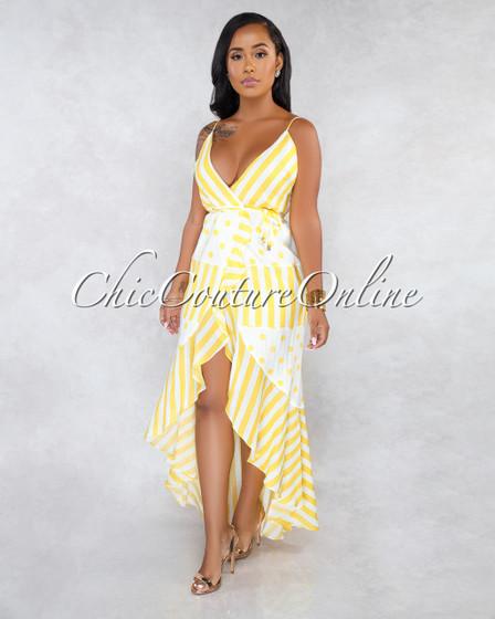 Valdys Off-White Yellow Polka Dots Stripes Wrap Ruffle Dress