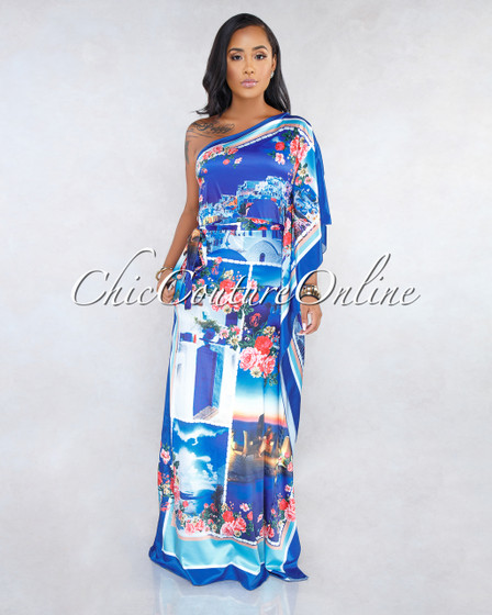Tamera Mykonos Print Single Shoulder Maxi Dress