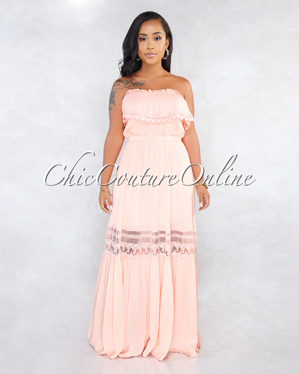 69a0b281731 Arden Salmon Off-The-Shoulder Crochet Maxi Dress. Price   50.00. Image 1