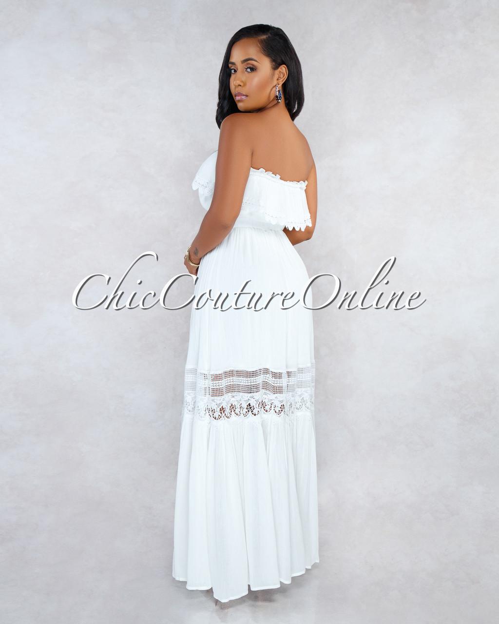 d467de95308 Arden Ivory Off-The-Shoulder Crochet Maxi Dress. Price   50.00. Image 1.  Larger   More Photos