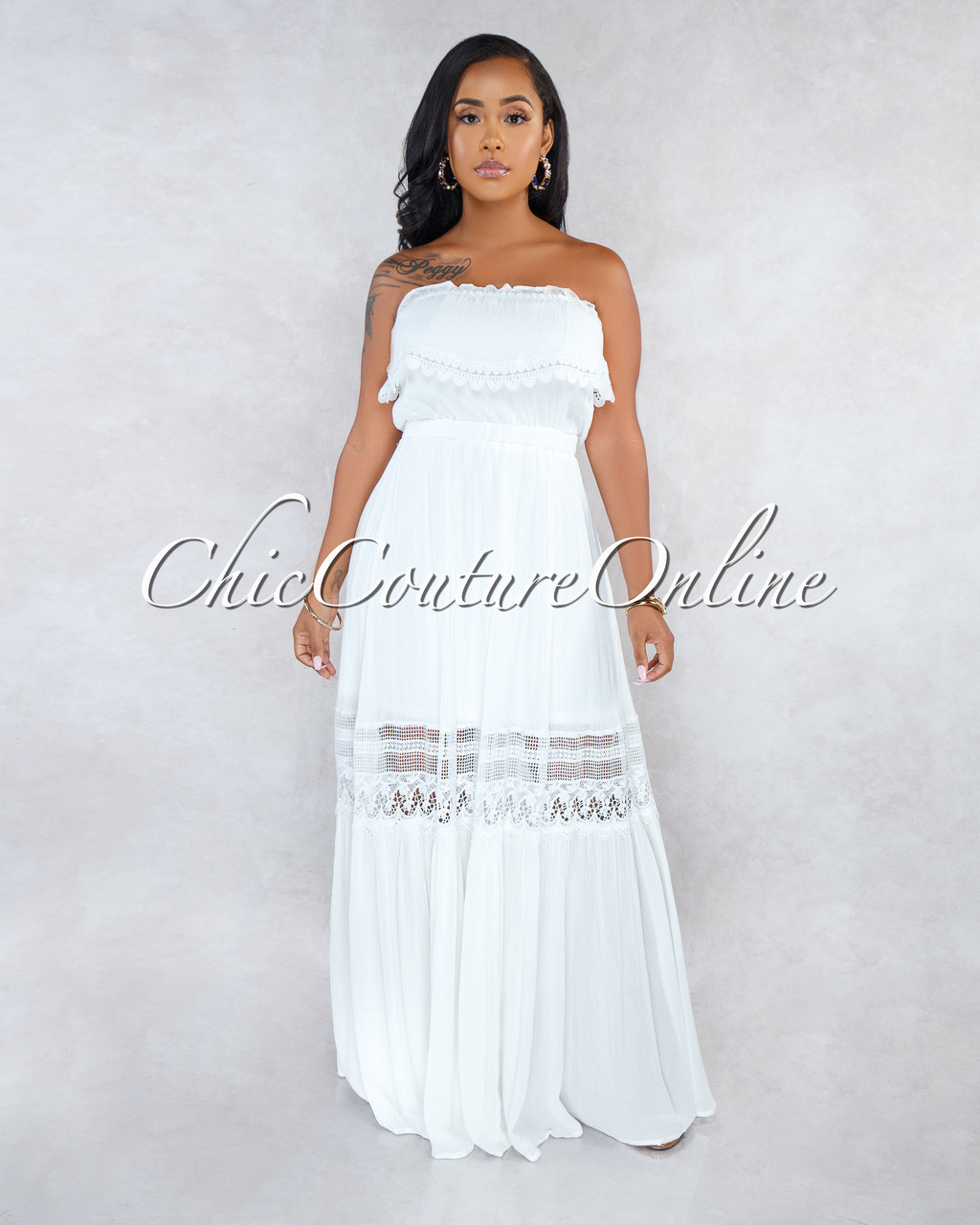 bc1dbbc47ca Arden Ivory Off-The-Shoulder Crochet Maxi Dress. Price   50.00. Image 1