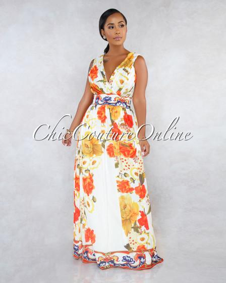 Meredith Ivory Orange Floral Print Maxi Dress