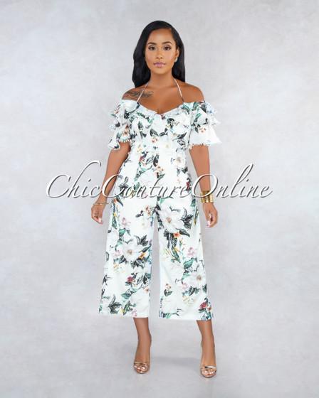 Keagan White Floral Print Ruffle Culotte Jumpsuit