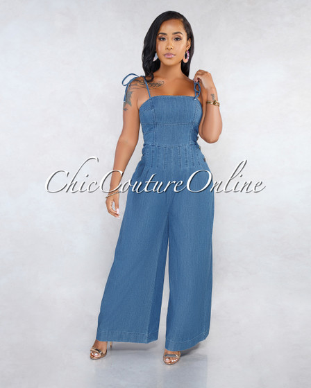 Chay Blue Denim Pleated Jumpsuit