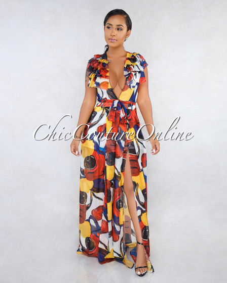 Niesha Multi-Color Abstract Print Ruffle Jumpsuit