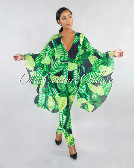 Liev Green Blue Leaf Print Ruffle Bell Sleeve Jumpsuit