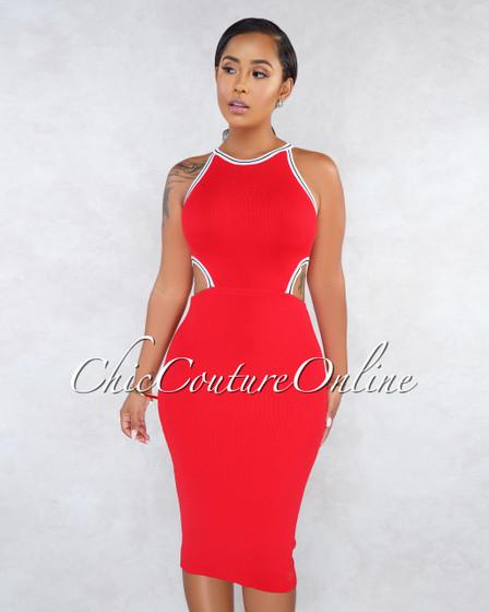 Lisha Red Track Sides Key-Hole Knit Dress