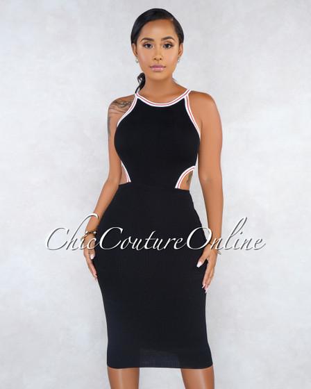 Lisha Black Track Sides Key-Hole Knit Dress