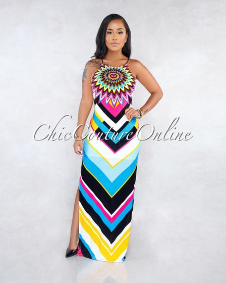Ingrid Multi-Color Geometric Print Maxi Dress