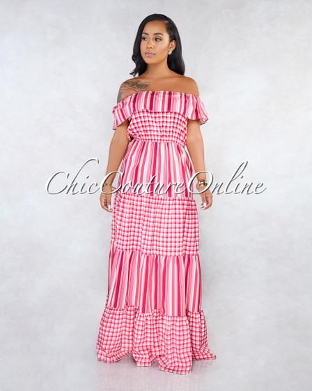 Loana Pink Off-The-Shoulder Gingham Stripes Maxi Dress