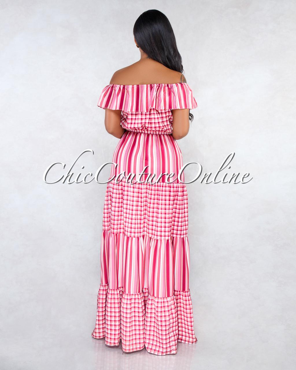 38fda8169c3 Loana Pink Off-The-Shoulder Gingham Stripes Maxi Dress