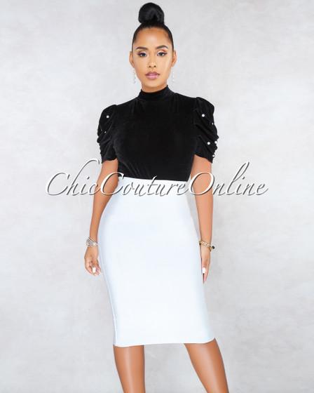 Lizeth White Elastic Bodycon Skirt