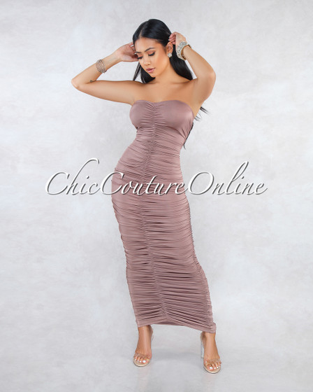 Kast Brown Ruched Strapless Maxi Dress