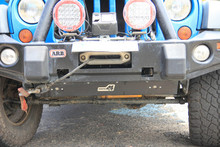 Uneek 4x4 Skid plate to suit ARB bull bar with optional rock lights fitted.  NOTE PROTOTYPE ROCK LIGHTS SHOWN, PRODUCTION ONES SLIGHTLY DIFFERENT