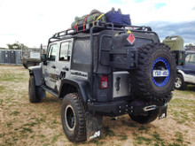 JK rear bumper with Tyre carrier, rear winch mount and bolt on Jerry can mounts