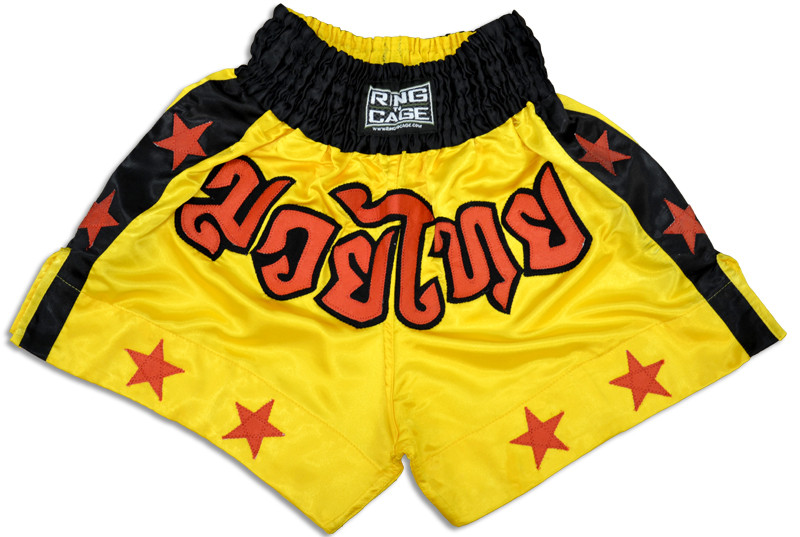 Small RING TO CAGE Gladiator Style MMA Boxing Muay Thai Shorts Black//Gold