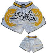 Muay Thai Shorts - White/Gold/Black