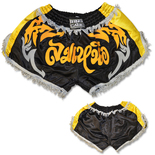 Retro Muay Thai Short - Black/Gold/Silver