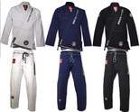 ROLL HARD Brand RIPSTOP LIGHT Brazilian Jiu Jitsu Kimonos - White, Blue & Black