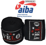 "AIBA Approved - 180"" Mexican Style Stretchable Handwraps - Black"