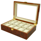 10 Watch Box Extra Clearance Large Cushions Latch Burl Wood