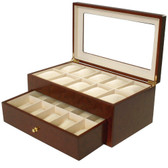 20 Watch Box XL Compartment Clearance Burl Wood Tech Swiss